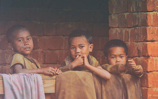 Poverty, Children, Madagascar, Royalty Free, Three Kids