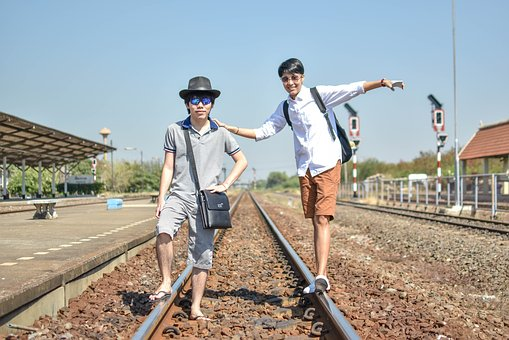 Friend, Railroad, Train, Travel, Tourists