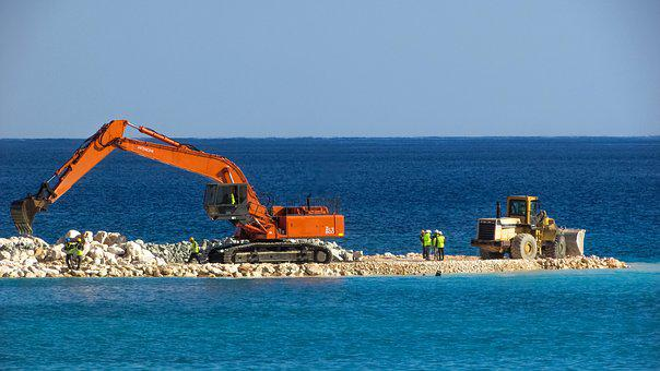Excavator, Bulldozer, Vehicle, Workers, Construction