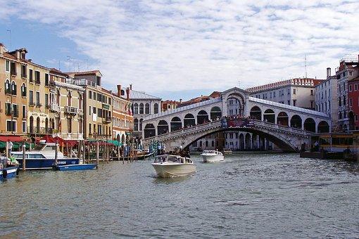 Rialto Bridge, Canal, Venice, Rialto, Channel, Italy