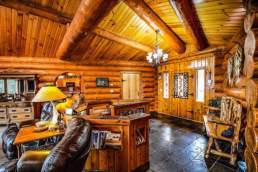 Log, Home, Cabin, Interior, Beans, Rustic, House