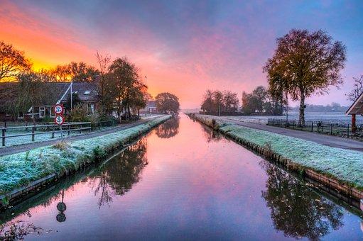 Landscape, Hdr, Green, Purple, Sunset, Red, Netherlands
