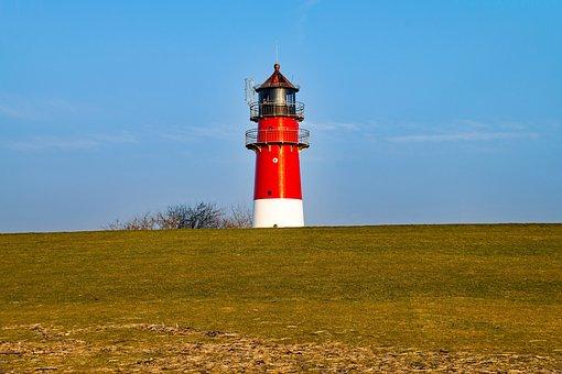 Büsum, Mecklenburg, Germany, Lighthouse, Dike