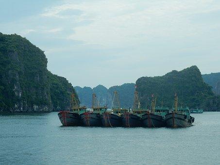 Halong Bay, Viet Nam, Boats, Water, Mountains, Karst
