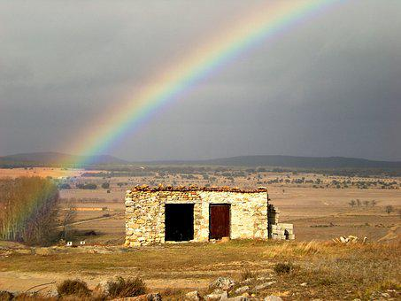 Rainbow, Spain, Ruin, Europe, Sky, Landscape, Building