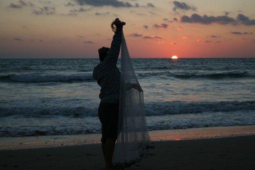 Fisherman, Sunset, Sea