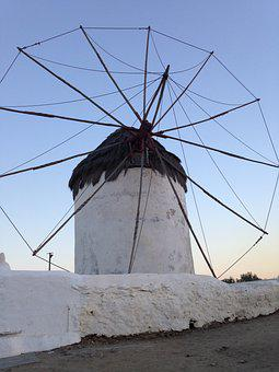 Greece, Mykonos, Windmill, Island, Travel