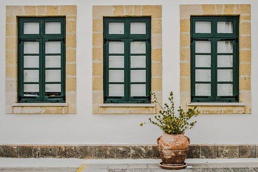Cyprus, Paralimni, School, Windows, Wooden, Green
