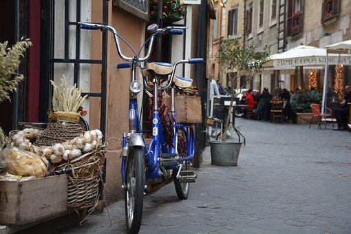 Bicycle, Tandem, Rome, Atmosphere, Restaurant, Alley
