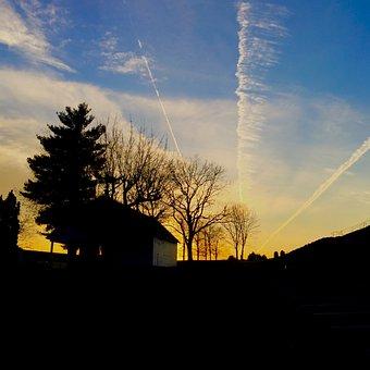 Sunset, Jet Streams, Sky, Evening, Silhouette, Scene