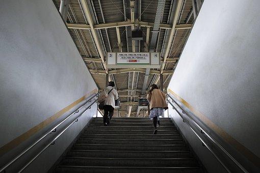 Steps, Streetcar, Stairs, People, Underground