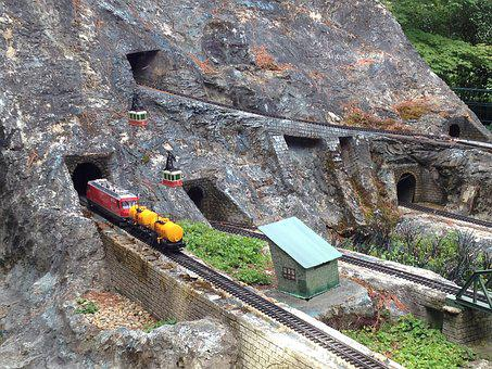 Model Train, Tunnel, Mountain, Miniature, Train, Model