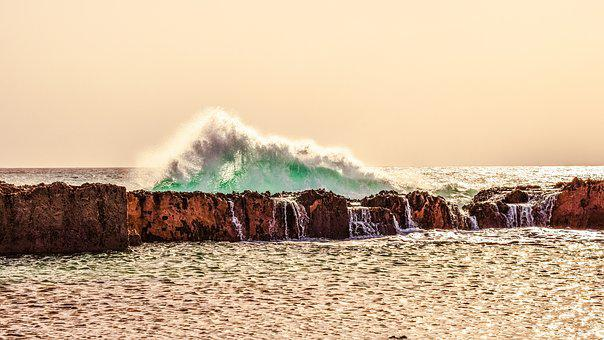 Waves, Rocky Coast, Erosion, Afternoon, Sea, Water