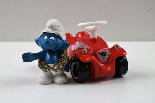 Smurf, Smurfs, Victor Schlumpf, Bobby Car, Figure, Toys