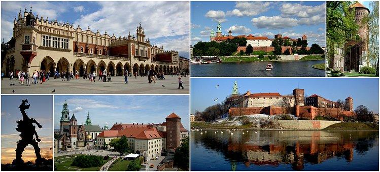 Collage, Tourism, History, Kraków, Poland, Architecture