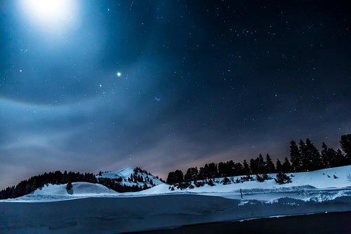 Switzerland, Gurnigel, Long Exposure, Star, Mountains