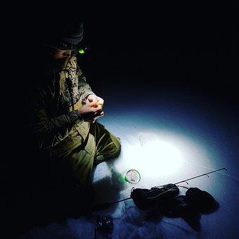 Ice-fishing, Fishing, Ice, Winter, Cold, Lake, Snow