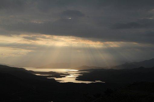 Lake, Yate, Storm, Sunset, Evening, Down, Sun's Rays