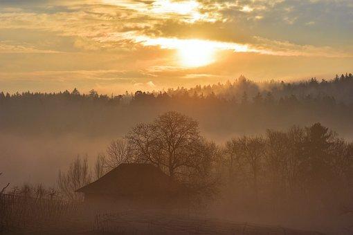 Landscape, Morgenrot, Autumn, Sunrise, Dawn, Skies