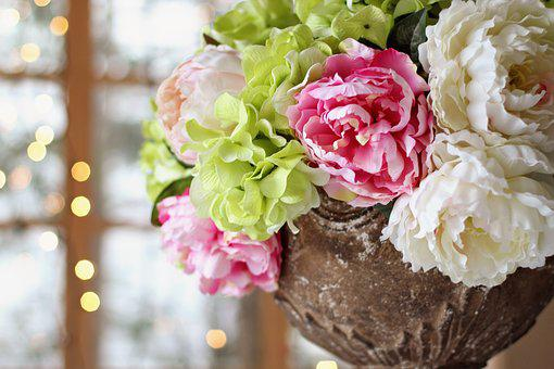 Peonies, Hydrangeas, Nature, Spring, Peony, Pink