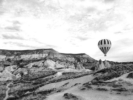Cappadocia Balloon, Sky, Turkey, Basket, Journey, Rock