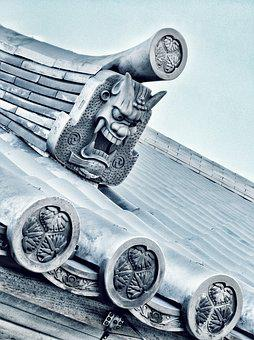 Traditional, Japan, Japanese, Roof, Tiles, Sculpture