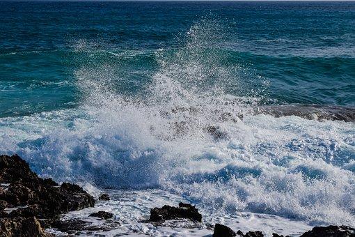 Wave, Smashing, Rock, Sea, Water, Coast, Nature, Blue