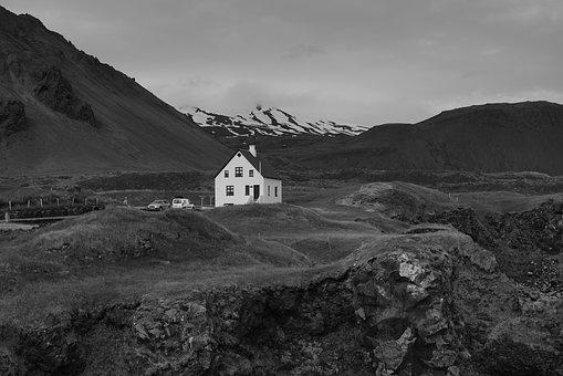 Iceland, House, Mountain, Glacier, Summer, Grass, Moss