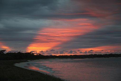 Tapeworm, Sunset, Evening, Down, Sun's Rays, Dark