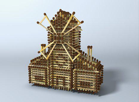 Mill, Matches, Cottage, Toy, Wood Mill