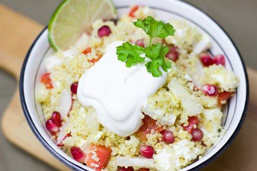 Salad, Couscous, Pomegranate, Vegetarian, Healthy