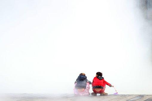 Lille, Mist, Fog, Children, Winter, Water, Cold