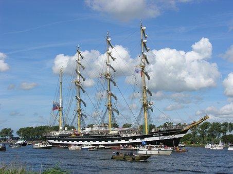 Sail, Amsterdam, Tall Ship, Water, Shipping, Ship