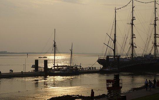 North Sea, Port, Back Light, Windjammer, Water