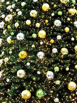 Golden Fir Ball, Golden Christmas Tree, Advent