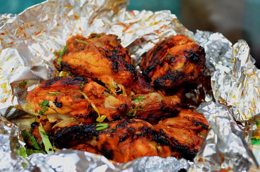 Chicken, Roasted, Indian, Fast Food, Bbq, Aluminum Foil