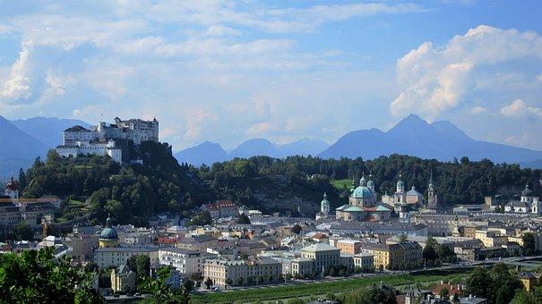 Salzburg, City, Castle, Town, Old, Austria, Europe