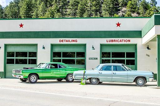 Gas Station, Vintage, Classic Cars, Muscle Cars, Retro