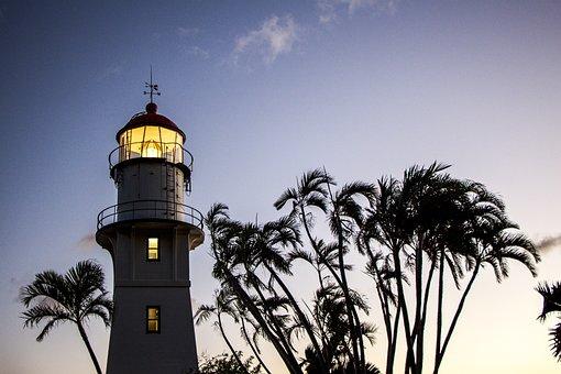 Oahu Lighthouse, Hawaii, Dusk, Palm Tree, Lighthouse
