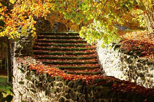 Stone Stairway, Gradually, Ruin, Grotto, Autumn