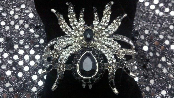 Cz, Crystal, Black, White, Velvet, Pillow, Spider