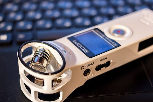 Dictaphone, Microphone, Portable, White, Recording