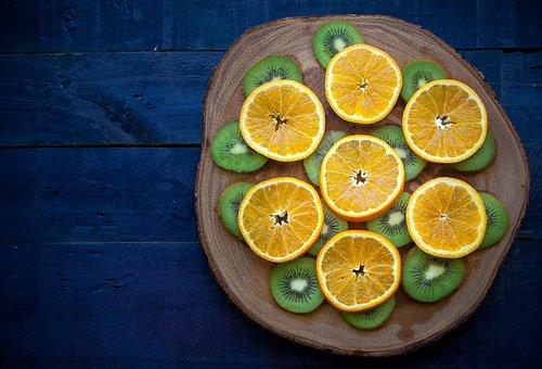 Orange, Kiwi, Wood, Table, Blue, Green, Fruit, Food