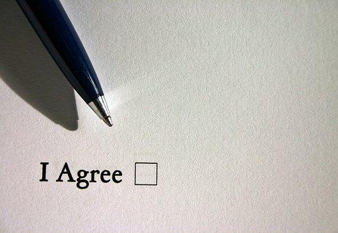 Consent, Ankreuzen, English, Check Off, Pen, Contract