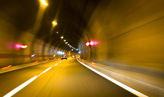 Tunnel, Color, Colors, Lights, Blur, Abstract, Car