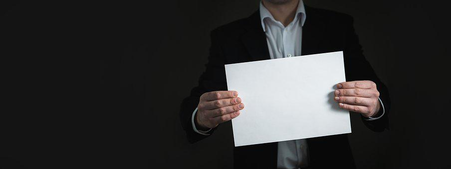 Paper, Hand, Banner, Business, Card, Man, Holding, Suit