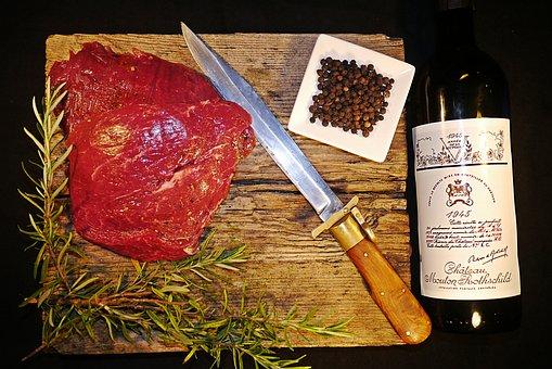 Drink, Wine, Rosemary, Meat