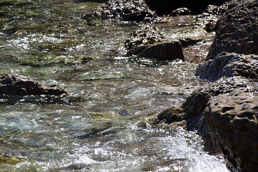 Rock, Water On Rocks, Water, Movement, Unruhigesee, Sea