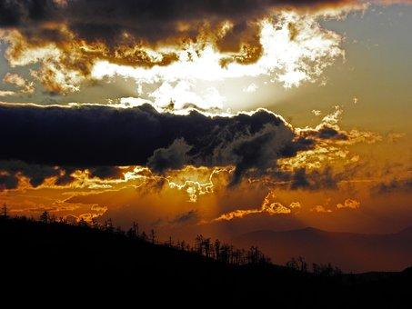 Sunset, Clouds, Landscape, Mountain, Nature, Sky
