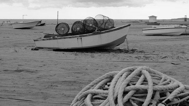 Boat, Fishermen, Beach, Network, Fishing, Porto, Rope